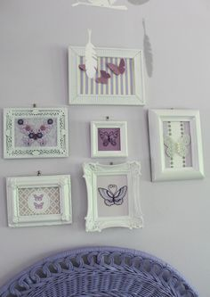 Handmade Purple Butterfly Collage in White Shabby Chic Frames.