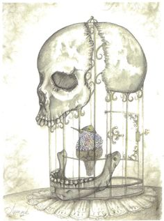 Bird in a cage print  skull cage drawing by CreativeWorkByAnnie