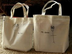 Tote Bags that look like lined paper...adorable.  have kids draw in pencil on bag then go over with gray embroidery floss or sharpie