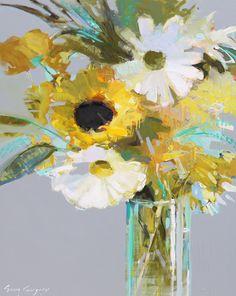 Erin Gregory - Light and Day Acrylic Flowers, Abstract Flowers, Acrylic Art, Erin Gregory, Great Paintings, Impressionist Art, Floral Illustrations, Artist Art, Flower Art