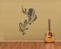 MUSIC NOTES SHEET MUSIC MICROPHONE VINYL WALL ART DECAL STICKER WALL MURAL LARGE SIZE 20X335 ** Click image for more details.