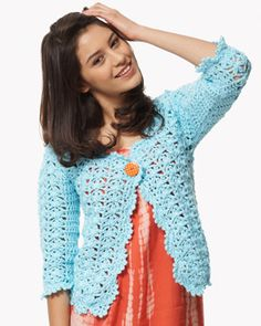 Crochet this bright, lacy cardigan for the perfect addition to any trendy spring outfit - jeans and dresses alike. Shown in Bernat Satin.
