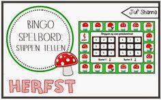 Thema herfst: bingo spelbord - stippen tellen