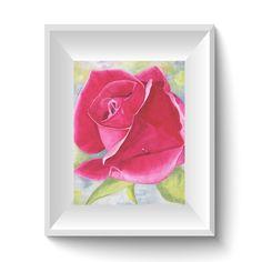 Rosa pintura  arte floral  flor rosa  rosa rosa  Fower con