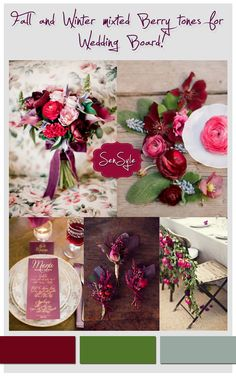 Inspiration board with berry and burgundy colors by Sensyle see more here http://www.love4weddings.gr/berry-wedding-color-pallete/ #burgundyweddingideas