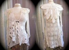 Shabby Doily Top romantic cottage white creme by TatteredDelicates