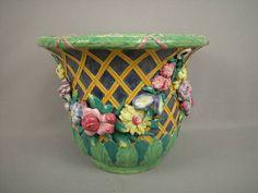 543: Majolica Minton Leaf & Trellis Jardiniere : Lot 543