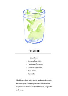 Mojito Cocktail Recipe Card. Postcard back. Buy all 12 here: https://www.etsy.com/listing/118013624/classic-cocktail-recipe-cards-12