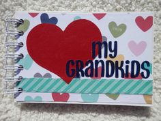 What a fun way to display pictures of your grandchildren! This chipboard album is 4x6 inches and is made of 6 bound pieces of chipboard. Both the