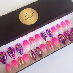 Pink Ombre Purple Stiletto Press On Nails | Nail Foils | Bright Summer Nails | Fake Nails | False Nails | Hand Painted Nail Art Design