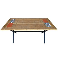 Playful  French Bamboo & Ceramic Coffee Table by Roger Capron