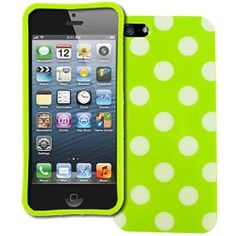 MPERO Collection Cute Neon Green with White Polka Dots Case for Apple iPhone 5 Cover
