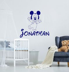 Name Wall Decals Mickey Mouse Wall Decal Baby Nursery Wall Decal Boy Nursery Vinyl Decal Mickey Mouse Name Sticker Bedroom Decor Nursery Wall Decals Boy, Baby Boy Nursery Decor, Name Wall Decals, Name Stickers, Baby Boy Nurseries, Vinyl Decals, Mickey Mouse Wall Decals, Vinyl Store, Textured Walls