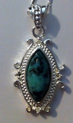 925 Sterling Silver chain with African Turquoise plated with 925 Sterling Silver on Etsy, $20.00
