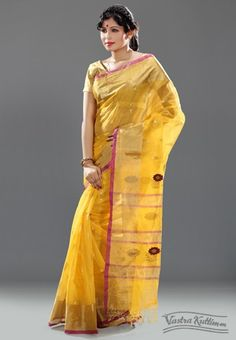 Yellow Handloom Tussar Silk Saree with Zari