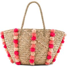 Seafolly Carried Away Pom Pom Beach Basket found on Polyvore featuring bags, handbags, swim, white handbags, straw bags, white bag, straw beach bag and beach handbags