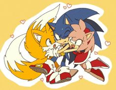 Tails sonic and Amy Mais Sonic 3, Sonic And Amy, Sonic Fan Art, Sonic The Hedgehog, Hedgehog Movie, Amy Rose, Sonamy Comic, Fox Boy, Sonic Franchise
