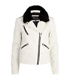 Cream faux fur collar biker jacket £60.00
