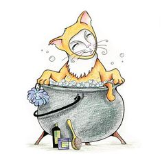 the almost-cat Julian #illustration #cat #bath #bathing #animals #doodle #draw #drawing