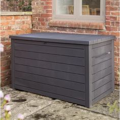 870 L Resin Storage Box Hazelwood Home Colour: Anthracite Storing Garden Tools, Outdoor Storage Boxes, Outdoor Deck Decorating, Outdoor Deck Storage Box, Solid Wood Storage, Outdoor Storage Box, Resin Storage, Wooden Storage Boxes, Wicker Storage Boxes