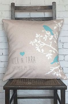 Items similar to Pillow Cover, Cotton Anniversary Gift, Personalized Gift Pillow Cover Turquoise LOVE BIRDS Wedding Pillow on Etsy Burlap Pillows, Decorative Pillows, Bed Pillows, Cushions, Decor Pillows, Personalized Pillows, Personalized Gifts, Handmade Gifts, Cotton Anniversary Gifts