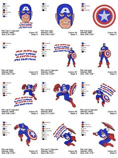 CAPTAIN AMERICA   12 Embroidery designs by amazingshop2005 on Etsy, $9.90