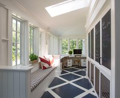 This pin has so many amazing ideas for a bright kitchen/home Mudroom home office. Mudroom with built-in cabinet door with chalkboard messages boards and window seat. Sunroom Office, Home Office, Porch Addition, Villa, Luxury Interior Design, Interiores Design, My Dream Home, Mudroom, Luxury Homes