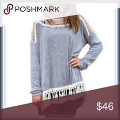 """NWT Boho Chic Crochet Cut out Sweater Tunic ➖NWT ➖SIZE: Medium : true to size           ➖LENGTH: 28""""           ➖SHOULDER: 18""""          ➖BUST: 21"""" (it's for a baggy dolman sleeve top)  ➖STYLE: A gray sweater tunic top with a crochet cut out design neckline that follows a bit into the sleeve. The design is high low but but not gradual and the front has tassels giving it a boho chic look. ❌NO TRADE. 233905 Sweaters Crew & Scoop Necks"""
