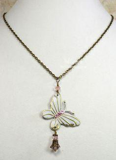 Butterfly Beaded Dangle Necklaces - ButterBeeScrapsButterBeeScraps