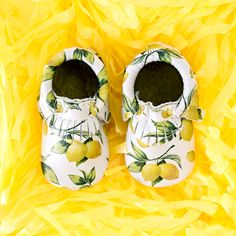 Limited Edition Lemonade Moccs from Freshly Picked   Baby Moccasins, Genuine Leather, Toddler Shoes, Lemon