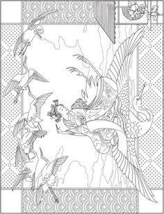 Welcome to Dover Publications Flower Coloring Pages, Animal Coloring Pages, Colouring Pages, Coloring Books, Japanese Quilt Patterns, Japanese Quilts, Asian Cards, Japanese Artwork, Printable Adult Coloring Pages