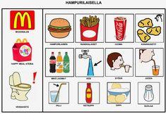 Kommunikaatiotaulu mukaan kun mennään lapsen kanssa Mcdonaldsiin tai muuhun hampurilaispaikkaan.