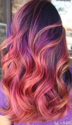Peach and Purple Highlights