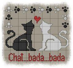 Grille point de croix pour Chats amoureux