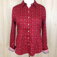 TOMMY HILFIGER Women's Flip Cuff Button Front Top w/Collar Red Blue Print Sz. XL #TommyHilfiger #ButtonFront