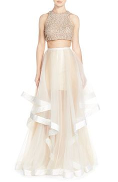 Glamour by Terani Couture Beaded Top & Organza Two-Piece Ballgown available at #Nordstrom
