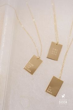 Personalize your Dani pendant with a date, phrase, initials and more. (Up to 4 lines, 6 characters each line.) We love the modern shape and minimalist design. Hangs along a dainty gold cable chain. Initial Necklace, Arrow Necklace, Gold Necklace, Dainty Jewelry, Personalized Jewelry, Minimalist Design, Necklace Lengths, Initials, Cable
