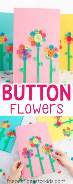 Button Flower Card Art & Craft Idea for Mother's Day or Spring Craft.Button Flower Card Art & Craft Idea for Mother's Day or Spring Craft. Lovely Mother's Day Gift from Kids or Mother's Day Crafts for Preschoolers. Easy Mother's Day Crafts, Mothers Day Crafts For Kids, Diy Crafts For Kids, Fun Crafts, Paper Crafts, Craft Kids, Kids Diy, Simple Crafts, Craft Art