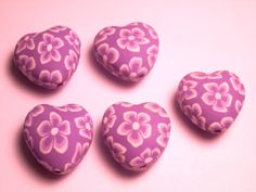 6 Fimo Polymer Clay Flower Fimo Beads 20mm purple heart 20mm. $4.99, via Etsy.
