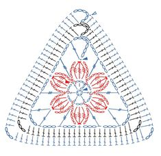 How to crochet a granny square. Triangular Motifs - Step 1