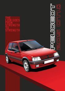 Peugeot 205 GTI Poster Illustration by Russell Wallis