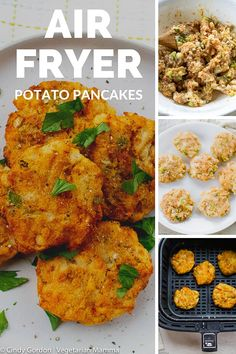 These Air Fryer Potato Pancakes are crispy yet tender and will satisfy everyones tastebuds. This potato pancakes recipe can be served as a main side or side dish. Air Fryer Recipes Snacks, Air Fryer Recipes Breakfast, Air Fryer Dinner Recipes, Air Fryer Recipes Vegetables, Veggies, Vegetable Recipes, Vegetarian Recipes, Cooking Recipes, Healthy Recipes