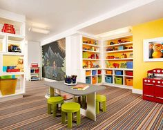 children playroom design ideas...... like the chalkboard and bright storage