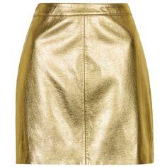 Women's Topshop Golden Miniskirt (€28) ❤ liked on Polyvore featuring skirts, mini skirts, bottoms, faldas, topshop, beige faux leather skirt, short mini skirts, beige skirt, mini skirt and vegan leather mini skirt