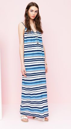 Rue8isquit MNR Long Dress  Long striped dress with a loose cool fitting style