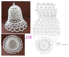 Schémy na zvončeky :-) - Her Crochet Crochet Christmas Decorations, Christmas Crochet Patterns, Crochet Decoration, Crochet Ornaments, Crochet Snowflakes, Christmas Knitting, Christmas Crafts, Crochet Chart, Thread Crochet