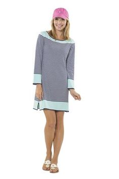 Navy/Aqua Shaded with Sleeve Sweater Dress
