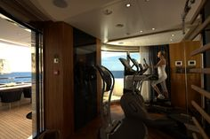 Active relaxation in the fully equipped Technogym aboard Quinta Essentia yacht by Heesen Yachts