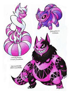 "Remake of my Cheshire Cat line (Cheshire-Puss) -Normal -Smile pokemon -Ability: Wonderland -""This pokemon wanders always with a smile and a goofey attituted. This pokemon has the abi. Cat Pokemon, Pokemon Fake, Mega Pokemon, Pikachu, Pokemon Fusion Art, Pokemon Fan Art, Fnaf, Chesire Cat, Alice In Wonderland"
