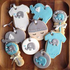 Adorable elephant theme baby cookies!  #periwinklesweets #babyshower #babyboy
